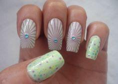 De Nailsvanidosas:   Tonos pastel con diseño de estampado, glitter y un toque chic con gemas. #nail #nails #nailart