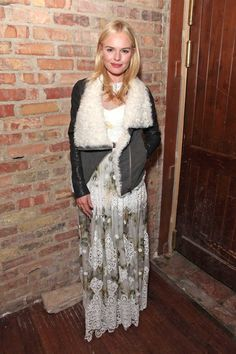 Kate Bosworth in a sheer lace gown + shearling moto jacket