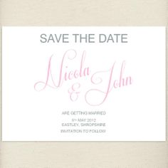 classic pale pink, blush, Save the date card, £1.20, #savethedate