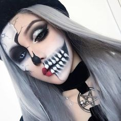 Wow! How cool and awesome girl @kinashen with the Half& half Skeleton in Super Long Silver / Grey wig. She is sooo gorgeous. Love it very much. Girls how do you think? Wig SKU: SN22-T0906 #evahair #evahairofficial #silvergrey #longhair #synthetic #lacefrontwig #halloween #makeup