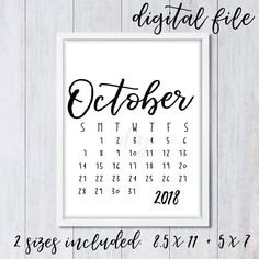 october 2018 calendar pregnancy announcement printable social media reveal black white monthly