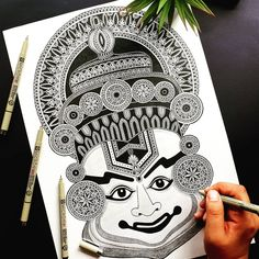 """AARTI R. AMONKAR shared a photo on Instagram: """"Created this """"KATHAKALI DANCER"""" artwork on a special request of a very dear friend of mine. Though…"""" • See 399 photos and videos on their profile. Disney Drawings Sketches, Dark Art Drawings, Art Drawings Sketches Simple, Animal Sketches, Cartoon Drawings, Easy Drawings, Mandala Art Lesson, Mandala Artwork, Mandala Drawing"""