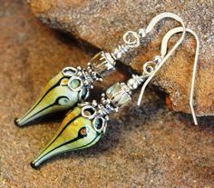 Raku Lampwork Art Glass Teardrop Earrings Boho by JensFancy