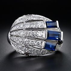 Cartier Sultanesque Baba Beaton A Symphony in Silver 1925 Art Deco Diamond and Sapphire Cocktail Ring Art Deco Ring, Art Deco Diamond, Art Deco Jewelry, High Jewelry, I Love Jewelry, Jewelry Design, Art Nouveau, Antique Jewelry, Vintage Jewelry