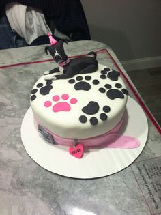 pitbull cake. birthday cake. dog cake