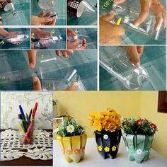 Soda bottle into mini flower pot & pencil holder