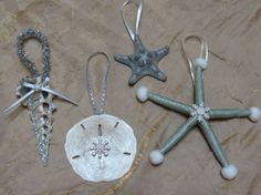 Silver Shell Ornaments Cluster of 4 on Etsy, $24.00