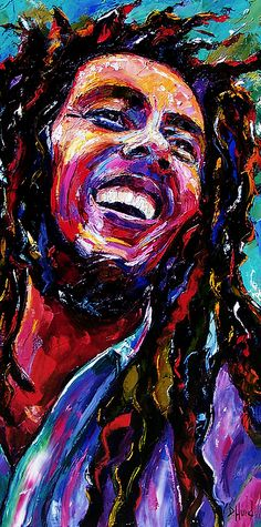 "Daily Painters Abstract Gallery: Abstract Jazz Music Portrait Painting ""Bob Marley Reggae Portrait"" by Texas Artist Debra Hurd"