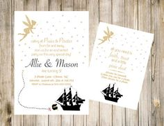 Pixie and Pirate Birthday Invitation Printable Invite DIY Digital 57 JPG File First Front Back Party Treasure Ship Fairy Gold Glitter Pirate Birthday Invitations, Baptism Invitations, Printable Invitations, Fairy Birthday Party, 4th Birthday Parties, Birthday Ideas, Tinkerbell Party, Boy First Birthday, Pixies