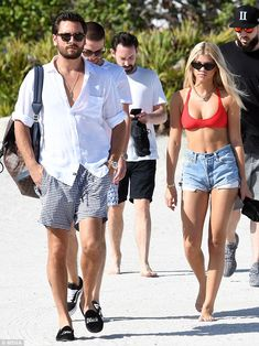 Red hot! Sofia Richie sizzled in a red hot bikini as she hit the beach in Miami with her b...