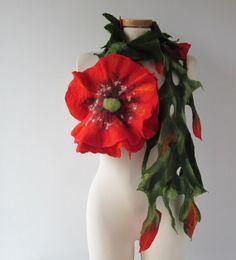 Felted scarf lariat  flower  poppy red gift under 50 от galafilc