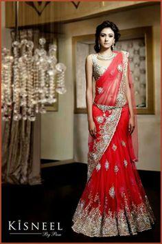 STUNNING. LOVE! #gorgeous #red #lengha