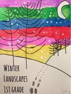 I needed a quick winter themed artwork for a holiday card deadline and thank goodness for the great ideas at McLean Magnet ES found on Artsonia - I knew their landscapes would be a nice inspiration fo