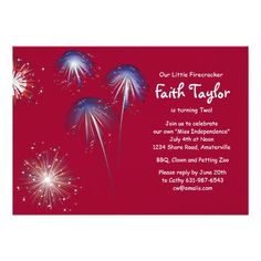 Shop Little Firecracker Birthday Invitation created by PixiePrints. Personalize it with photos & text or purchase as is! Kids Birthday Party Invitations, Holiday Invitations, Online Invitations, 4th Birthday Parties, July 4 Birthdays, 4th Of July Party, July 4th, Firecracker, Create Your Own Invitations
