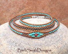 Southwest Bracelet-Turquoise Silver Beaded Wrap Bracelet-Magnet Clasp Bracelet-Custom Sizes-Triple Mini in Turquoise n' Coral Bracelets Wrap En Cuir, Bead Loom Bracelets, Beaded Wrap Bracelets, Bracelet Cuir, Beaded Earrings, Jewelry Bracelets, Bracelet Set, Bead Jewellery, Beaded Jewelry