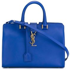 Saint Laurent small 'Cabas Monogram' tote (19,990 GTQ) ❤ liked on Polyvore featuring bags, handbags, tote bags, purses, borse, blue, zip top tote, yves saint-laurent tote, blue purse and monogrammed tote bags
