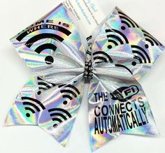 "Bows by April - Home is Where the WIFI is Cheer Bow (Shown as 3"" Prism Cheer Bow), $15.00 (http://www.bowsbyapril.com/home-is-where-the-wifi-is-cheer-bow-shown-as-3-prism-cheer-bow/)"