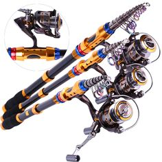 Spinning Telescopic Fishing Rod Set And Carp Fishing Reel 1.8m-3.6m Carbon Fishing Pole Sea Casting Fishing Rods