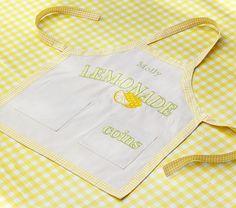 Lemon applique lemonade stand kids apron cooking apron for Lemon shaped lemonade stand