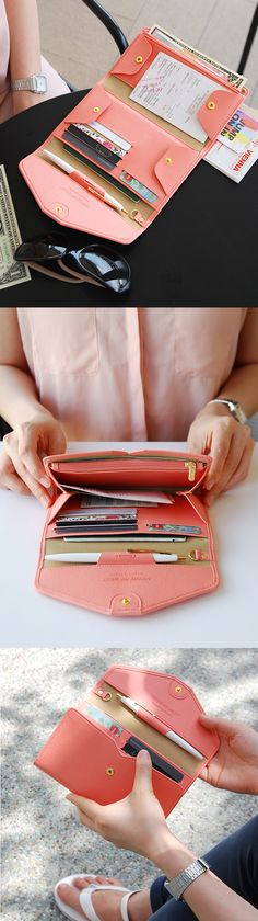 This is definitely going on my travel wishlist! The cute and colorful All-in-One Leather Pop Clutch is the new way to travel simply. It has plenty of pockets and space for my cards, cash, and coins as well as a pen, key, and even my passport Lv Bags, Purses And Bags, Things To Buy, Stuff To Buy, Looks Cool, Mode Style, Look Fashion, Fashion 2017, Purse Wallet