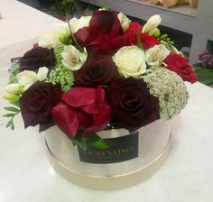 Flowers flowerbox peony roses red and black