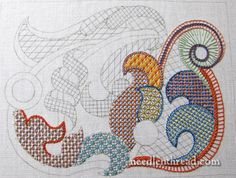 From the fabulous Mary Corbet - 'Stitch fun lattice work embroidery sampler'