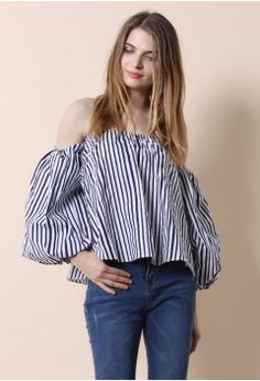 Blithe Bubble Off-shoulder Top in Stripes - Tops - Retro, Indie and Unique Fashion