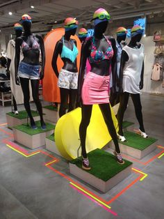 """RENUAR, by Hans Boodt Mannequins, Holland,""""Casual Abstract Collection', pinned by Ton van der Veer Lingerie Store Design, Magic Table, Mannequin Display, Sun Shop, Shop Fittings, Retail Windows, Visual Display, Merchandising Displays, Retail Design"""