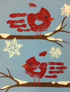 Winter cardinal handprint project for the grandbabies. SO adorable!