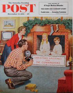 Christmas Photograph. Saturday Evening Post, December 11, 1954 (Amos Sewell)