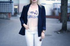 Navy blue blazer / H&M Conscious Exclusive shirt