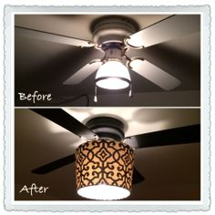 I hate the stock ceiling fans they put in apartments so I spray painted mine with matte black spray paint and added this lamp shade I got at Walmart for $10.
