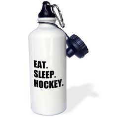3dRose Eat Sleep Hockey - text gift for sport team players and enthusiasts, Sports Water Bottle, 21oz
