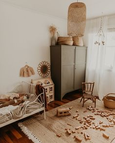 Sweet Vintage Bedroom Ideas as Reminiscence of Your Childhood - mybabydoo - Pretty kids bedroom ideas! I'm so in love with this neutral tones and that cute little rattan cane chair! Girls Bedroom, Bedroom Decor, Bedroom Ideas, Kid Bedrooms, Decor Room, Bedroom Bed, Design Bedroom, Nursery Ideas, Deco Kids