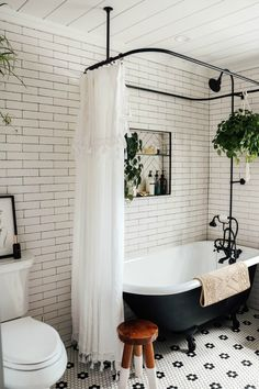 Master Bathroom Reveal with Claw Foot Tub - Nesting With Grace Clawfoot Tub Bathroom, Bathroom Renos, Remodel Bathroom, Budget Bathroom, Small Bathroom Tub Ideas, Concrete Bathroom, Bath Tub, Bathroom Faucets, Bathroom Green