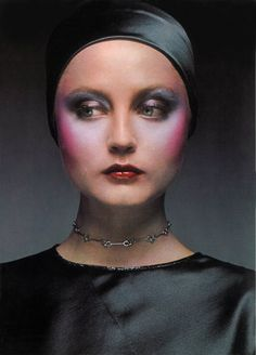 Biba makeup in Vogue Magazine (is this model Ingrid Boulting?) Odd and extreme use of color, especially on cheeks seems to be making a come-back in 2016 & 17.