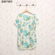 Short-Sleeve Floral Top - Blue Hat | YESSTYLE