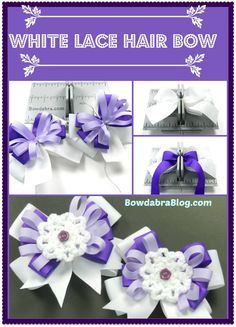 Hair Bow Making DIY Tutorial with White Lace Flower Center