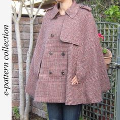 Cape Coat | Another cool Japanese sewing pattern. Learn to sew them at www.japanesesewingpatterns.com
