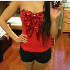 VALENTINES Red Bustier Size Small. Very Pretty. Charlotte Russe Tops