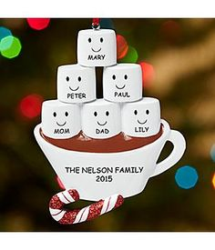 *New*– Marshmallow Dreams Family Ornament Nothing makes the holidays sweeter like sharing a marshmallow-filled cup of cocoa with your whole family. Made of resin. http://kittykatkoutique.com/all-new-personalized-christmas-ornaments-2015/