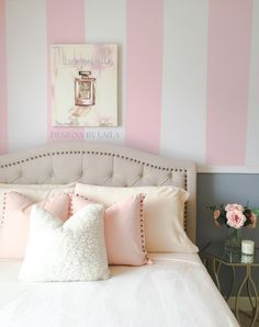 Pink And White Stripes, Pale Pink, Girl Room, Girls Bedroom, Bedrooms, White Walls, Love Seat, Bed Pillows, Pillow Cases