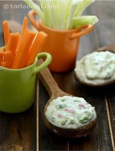 I've created delicious low calorie curd cheese dip, to be served with carrot and capsicum sticks.