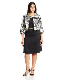AGB Women's Plus-Size 2 Piece Set Cardigan Fit and Flare Dress, Multi, 16W