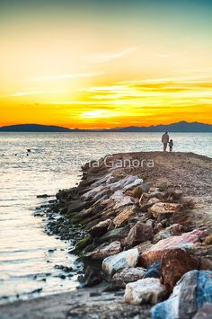 Sunset with dad by Silvia Ganora - #prints #sunset #sea #dad #daddy #daughter #redbubble #homedecor