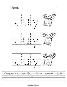Practice writing the word July Worksheet - Twisty Noodle Alphabet Writing, Alphabet Worksheets, Alphabet Activities, Color Activities, Preschool Worksheets, All About Me Poster, Letter Of The Week, Educational Crafts, Homeschool Kindergarten