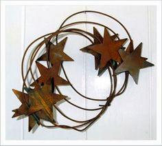 STAR GARLAND Country Decor Prim Rusty Metal Tin Primitive Americana Wedding Stars 6 feet long Rustic Lodge
