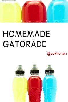 A recipe for Homemade Gatorade made with sugar, lite salt, unsweetened Kool-Aid Non Alcoholic Drinks, Fun Drinks, Yummy Drinks, Beverages, Mixed Drinks, Cold Drinks, Cocktails, Smoothie Packs, Smoothie Drinks