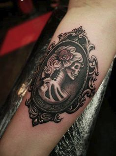 Momento Mori Day of the Dead Skull Cameo Tattoo