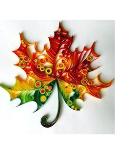 Maple Leaf - Unique Paper Quilled Wall Art for Home Decor (paper quilling handcr. - Maple Leaf – Unique Paper Quilled Wall Art for Home Decor (paper quilling handcrafted art piece m - Arte Quilling, Origami And Quilling, Quilled Paper Art, Paper Quilling Designs, Quilling Paper Craft, Paper Crafting, Owl Paper, Paper Tree, Diy And Crafts